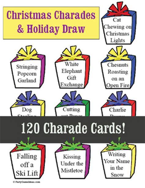 free printable christmas charades games christmas charades 120 holiday charades printable game