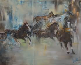 painting for urban cowboys original acrylic horses painting diptych