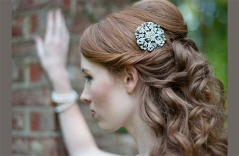 Vintage Wedding Hairstyles Half Up Half by Half Up Bridal Updo Vintage Bridal Barette