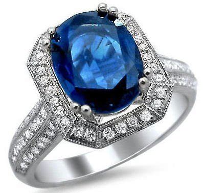 Blue Sapphire 9 05ct 3 05ct oval blue sapphire and ring 18k black gold