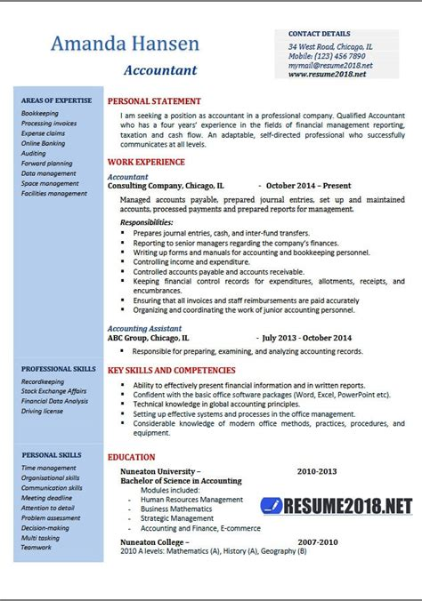 resume word template 2018 accountant resume exles 2018 resume 2018