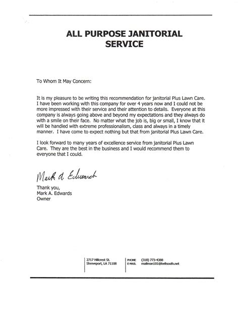 Reference Letter For Yard Work Janitorial Plus Lawn Care