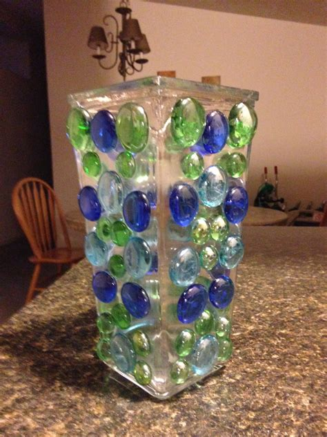 glass vase with colored glass rocks