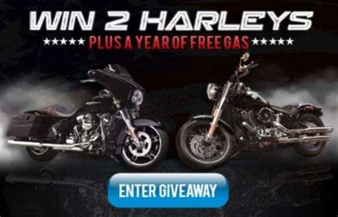 Harley Davidson Giveaways 2017 - win two 2016 harley davidsons plus year worth of gas