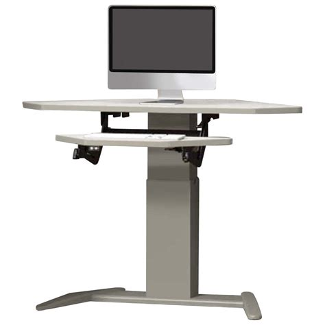 Electric Height Adjustable Computer Desk Shop Mayline Varitask E Series With Datacenter Keyboard