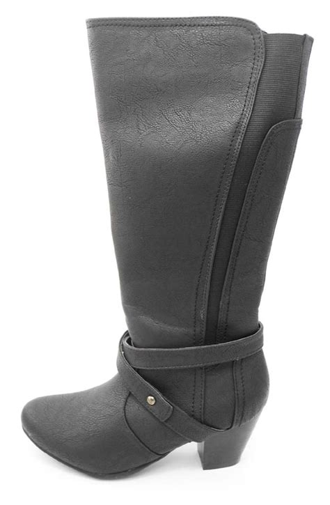 wide calf comfort boots womens ladies comfort plus wide fit knee calf boots black