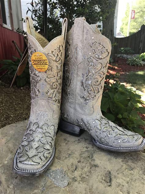 outfit attire dazzling wedding cowboy boots  bride