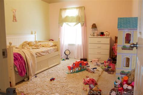 messy bedroom before and after a dreamy girl room makeover with hidden door bookcase