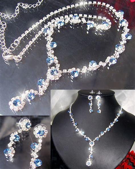 Hochzeitsschmuck Blau by Schmuckset Collier Ohrringe Strass Silber