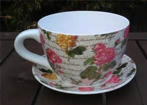 pink design tea cup and saucer planter ebay