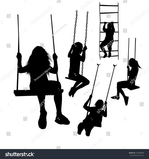 silhouette swing set silhouette girl on swing vector stock vector 252080080