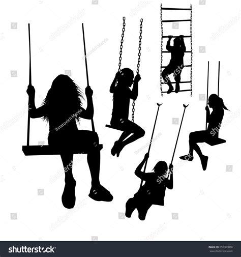 girl on swing silhouette set silhouette girl on swing vector stock vector 252080080