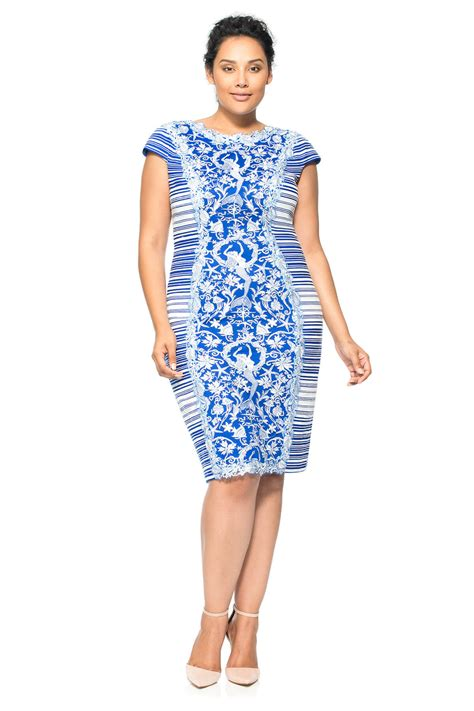 Dress Large Size Wh0153 mermaid embroidered panel sheath dress plus size tadashi shoji