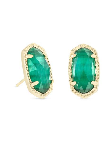 kendra shoo products shop kendra scott ellie stud earrings in emerald cat s eye
