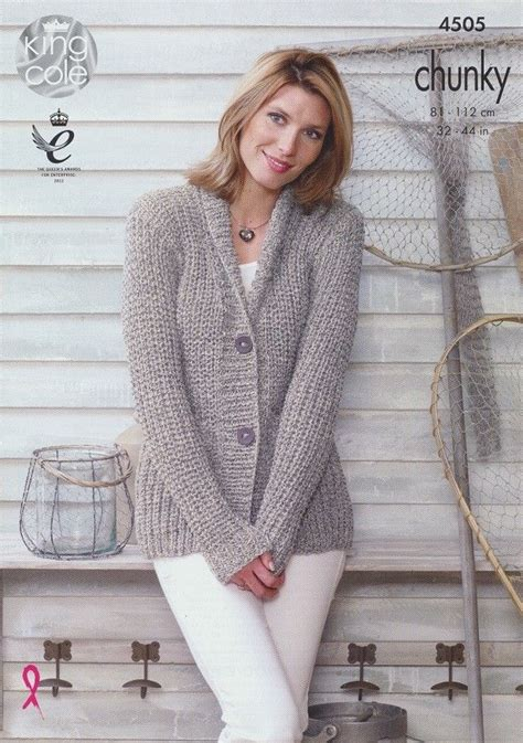 knitting jacket jacket and gilet in king cole authentic chunky 4505
