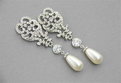 pearl chandelier earrings wedding wedding chandelier earrings bridal earrings pearl