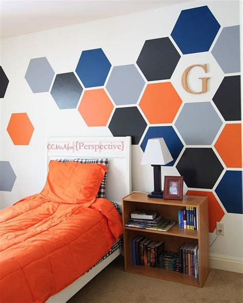 room painting designs hexagon wall tween boy room focal wall hometalk