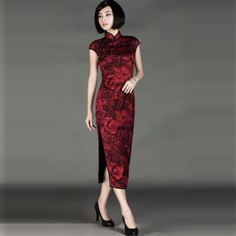 Rose Print Cheongsam Guangdong Silk Long Length