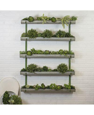 antique  galvanized metal wall planter   metal