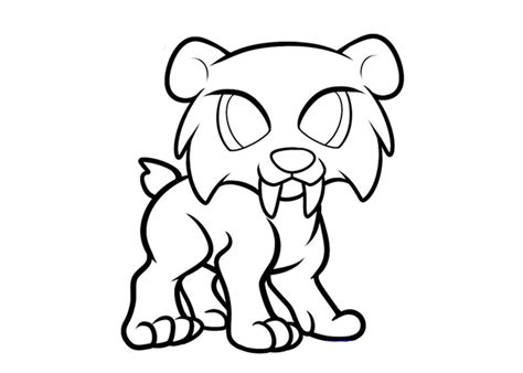 saber tooth tiger colouring pages