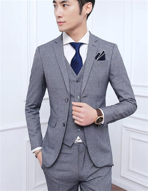 korean men two button slim fit coat pant vest 3 pcs sets