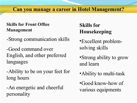 Examples Resume Skills career path in hospitality