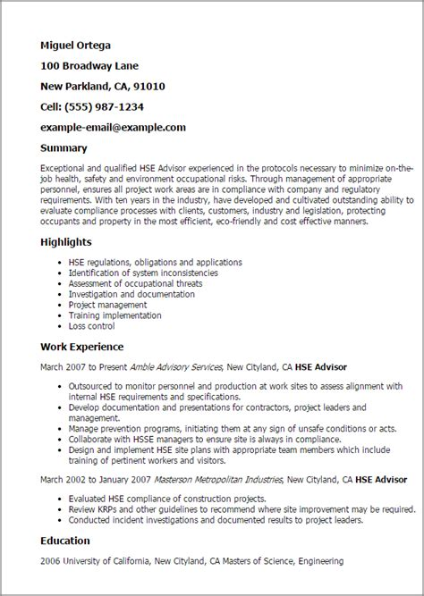 Hse Advisor Cover Letter by Professional Hse Advisor Templates To Showcase Your Talent Myperfectresume
