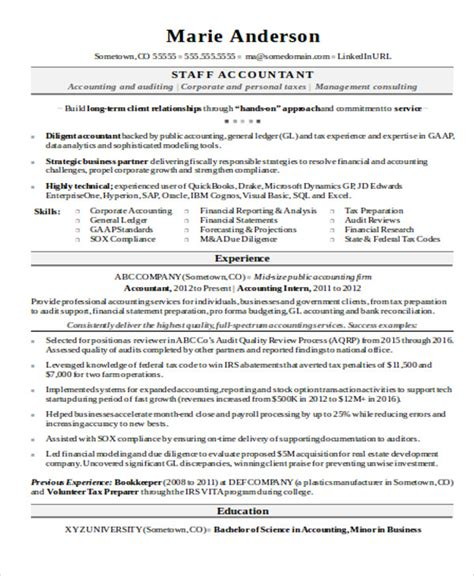 Staff Accountant Resume Exle by 15 Accountant Resume Templates Pdf Doc Free Premium Templates