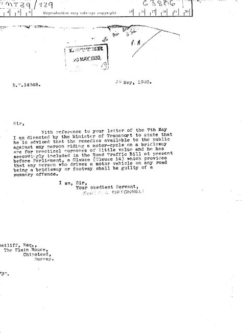 Appeal Letter Parking Offence 1930 In Transport