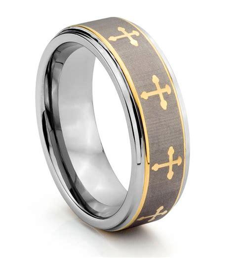 mm tungsten carbide engraved gold celtic cross mens