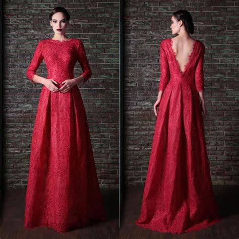 design dress with sleeves long backless lace modest dark red prom dresses with