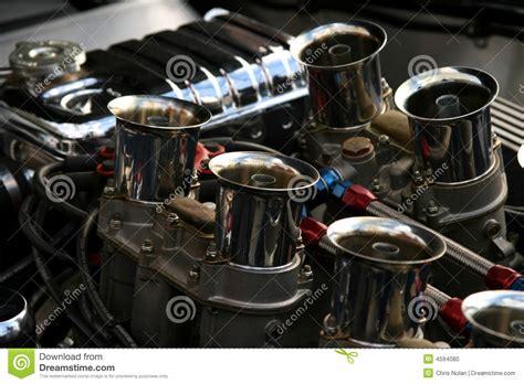 chrome motor chrome engine on classic american car stock photo image