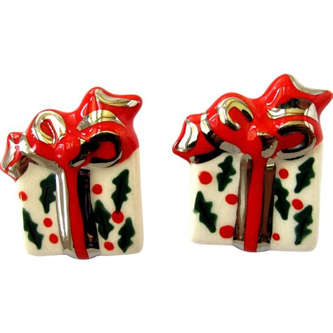 ceramic holiday gifts vintage ceramic gift pierced earrings sold on ruby