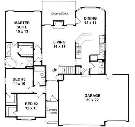 Plan 1424 3 Bedroom Narrow Lot Ranch W 3 Car Garage Ranch House Plans No Garage Three Bedrooms