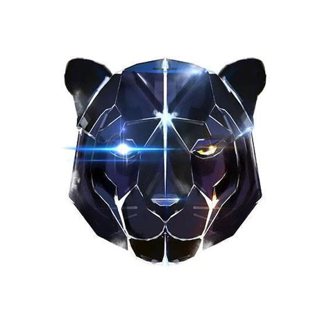 black robot panther head tattoo design