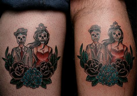 day of the dead couples tattoos 45 splendid couples tattoos creativefan