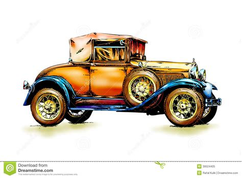 classic cars drawings old classic car retro vintage stock illustration