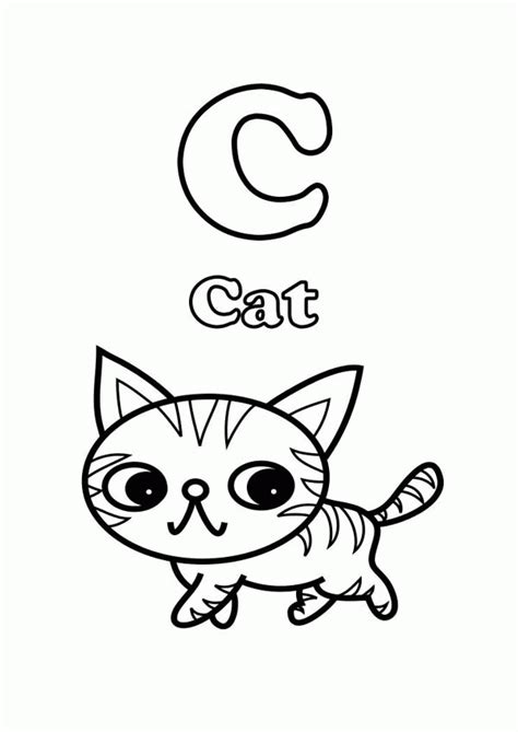 a sweet cat on letter c coloring page free