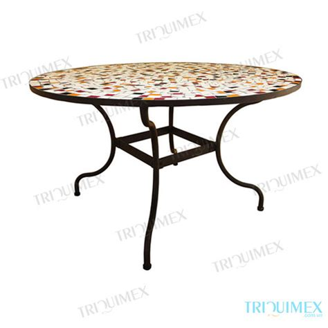 The Mosaic Dining Table With Wrought Iron Base