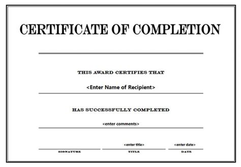 word template certificate of completion free editable award certificates best and various