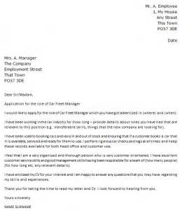 Fleet Coordinator Cover Letter by Car Fleet Manager Cover Letter Exle Icover Org Uk