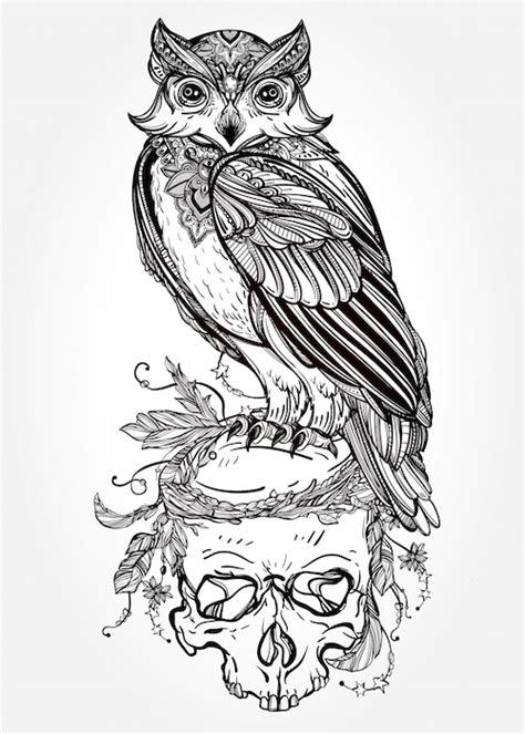 flying owl tattoo outline