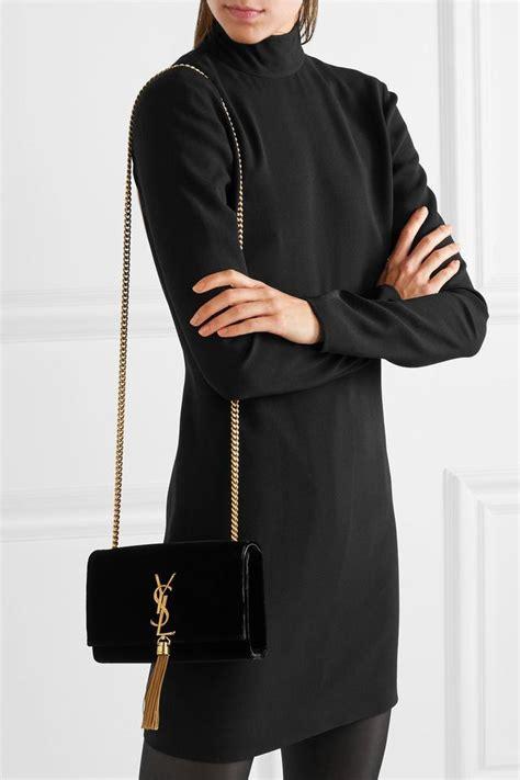 saint laurent black velvet monogram kate shoulder bag