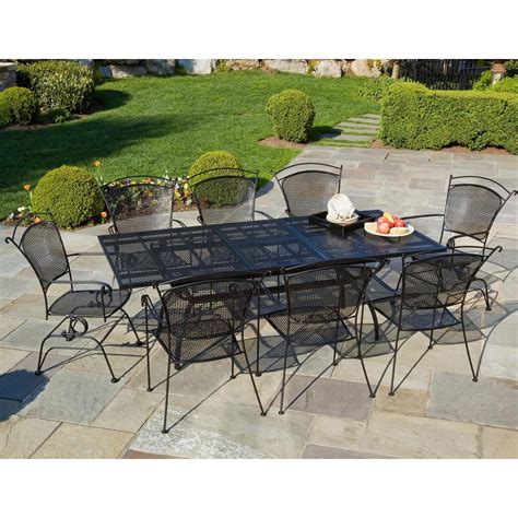 Furniture Art Stone Outdoor Top Table With Black Iron Wrought Iron Patio Table Set