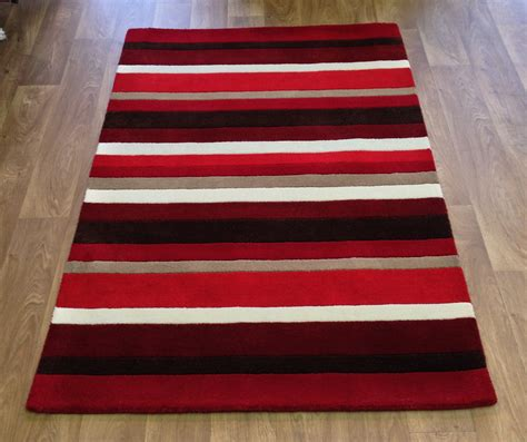 Modern Stripe Rug Rug Modern Striped Wool Brown Beige Small Medium Large Ebay