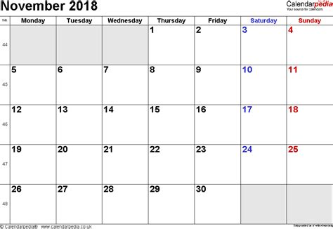 Calendar 2018 November And December Calendar November 2018 Uk Bank Holidays Excel Pdf Word