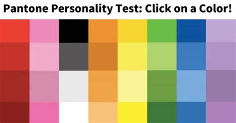 pantone color test take the pantone color personality test vonvon