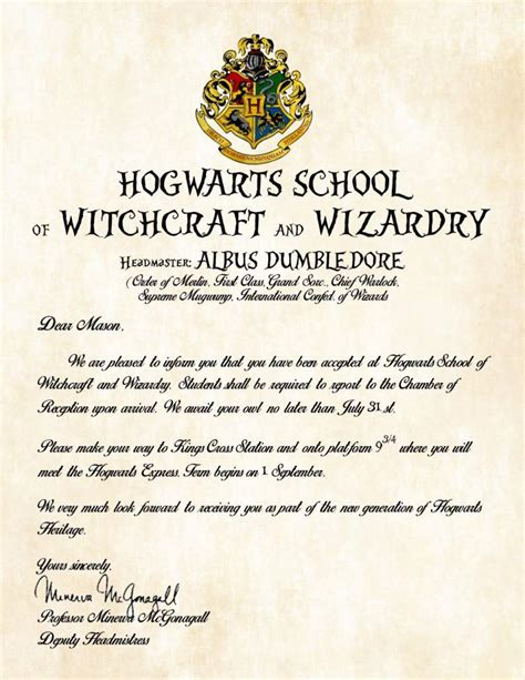 Real Harry Potter Acceptance Letter top 101 best harry potter gift ideas heavy