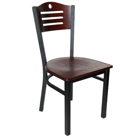 Black Metal Bistro Chairs Black Metal Frame Chair With Mahogany Wood Back And Seat