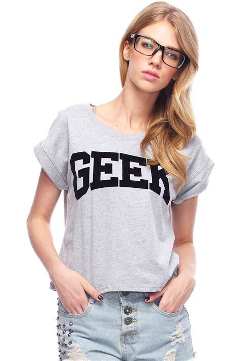 romwe quot geek quot print t shirt latest street fashion